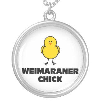 Weimaraner Chick Round Pendant Necklace