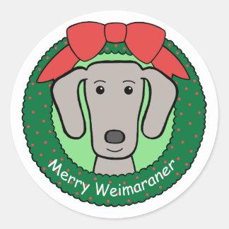 Weimaraner Christmas Classic Round Sticker