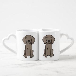 Weimaraner Dog Cartoon Couples Mug