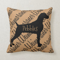 Weimaraner Dog Silhouette Custom Pillow