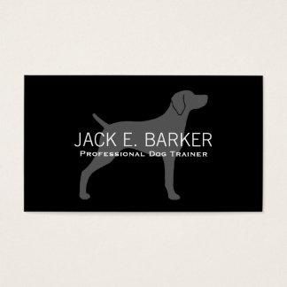 Weimaraner Dog Silhouette Grey on Black Business Card