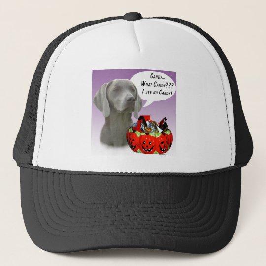 Weimaraner Halloween Candy Trucker Hat