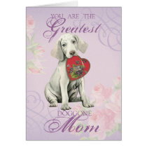 Weimaraner Heart Mom Card