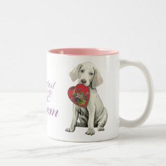 Weimaraner Heart Mom Two-Tone Coffee Mug