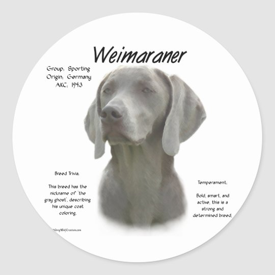Weimaraner History Design Classic Round Sticker