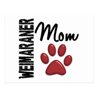 Weimaraner Mom Paw Print 2 Post Cards
