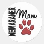 Weimaraner Mom Paw Print 2 Stickers