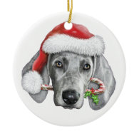 Weimaraner Double-Sided Ceramic Round Christmas Ornament