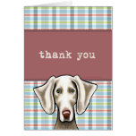 Weimaraner Pale Plaid Thank You Greeting Card