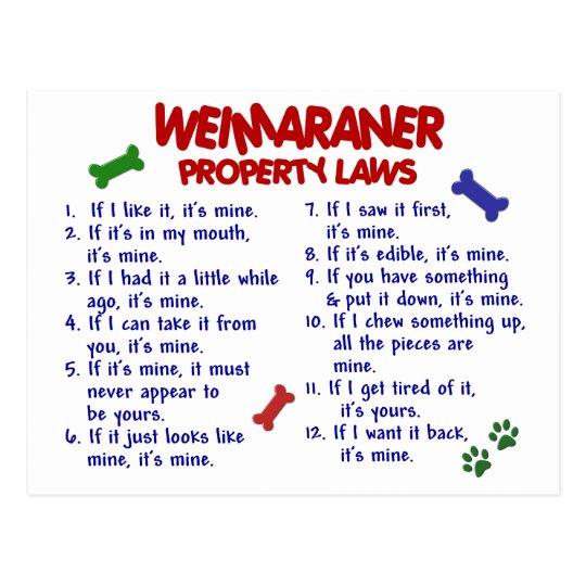 WEIMARANER Property Laws 2 Postcard
