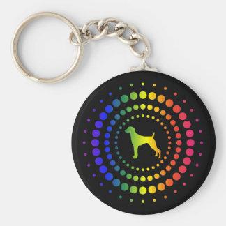 Weimaraner Rainbow Studs Basic Round Button Keychain