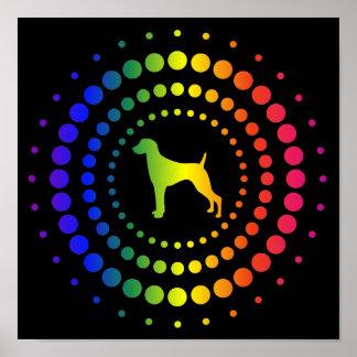 Weimaraner Rainbow Studs Poster