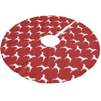 Weimaraner Silhouettes Pattern Red Brushed Polyester Tree Skirt