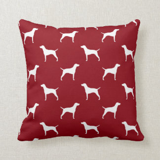 Weimaraner Silhouettes Pattern Red Throw Pillow