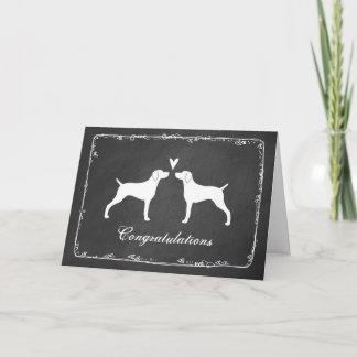 Weimaraner Silhouettes Wedding Congratulations Card