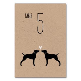 Weimaraner Silhouettes Wedding Table Card