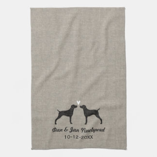Weimaraner Silhouettes with Heart and Text Hand Towel