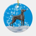 Weimaraner Snowflake Holiday Ornament