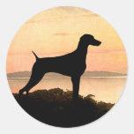 Weimaraner Sunset Stickers