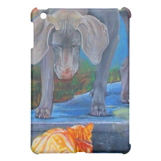 Weimaraner & Tabby Cat Speck Case Cover For The iPad Mini