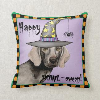 Weimaraner Witch Throw Pillow