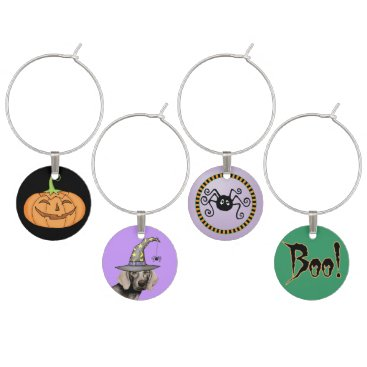 Halloween Themed Weimaraner Witch Wine Glass Charm
