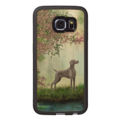 Carved Samsung Galaxy S6 Edge Bumper Wood Case with Weimaraner Phone Cases design