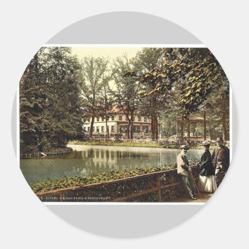 Weinau Pond and restaurant, Zittau, Saxony, German Classic Round Sticker