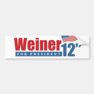 Weiner 2012 Inches - Bumper Sticker Car Bumper Sticker