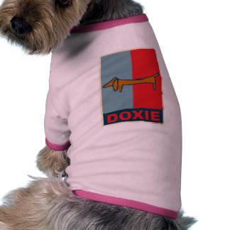 Weiner Dog,  Doxie Red and Blue Dog T Shirt