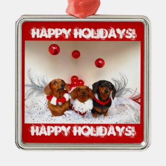 Weiner Dog Happy Holidays! Christmas Ornaments