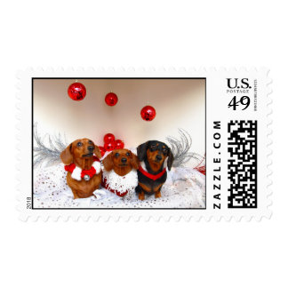 Weiner Dog Holiday Greetings! Postage