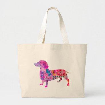 Beach Themed Weiner Dog Jumbo Tote Bag