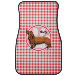 Weiner Dog; Red and White Gingham Car Floor Mat
