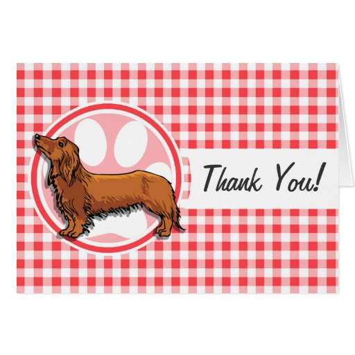 Weiner Dog; Red and White Gingham Cards
