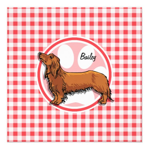 Weiner Dog; Red and White Gingham Custom Announcement