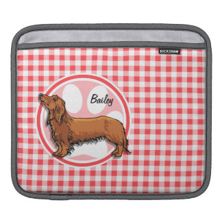 Weiner Dog; Red and White Gingham iPad Sleeve