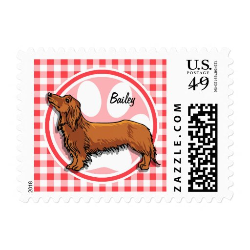 Weiner Dog; Red and White Gingham Postage Stamps
