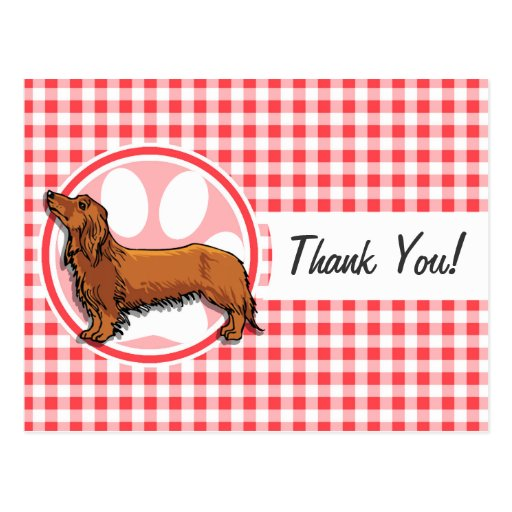 Weiner Dog; Red and White Gingham Post Card