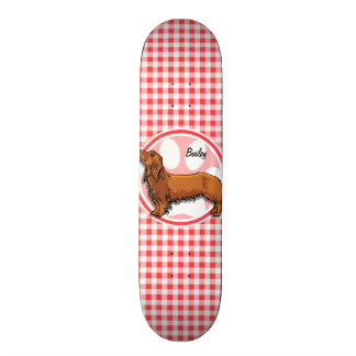 Weiner Dog; Red and White Gingham Skateboard Deck