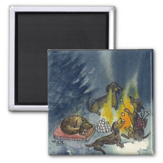 Weiner Dogs Camp Out Fridge Magnets