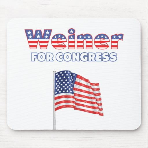 Weiner for Congress Patriotic American Flag Mouse Pad