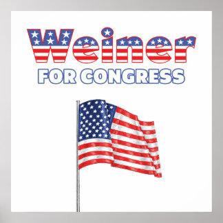 Weiner para la bandera americana patriótica del co posters
