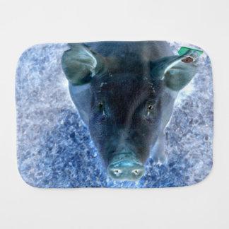 weird animal inverted blue pig image burp cloth