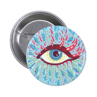 Weird Blue Psychedelic Eye Button