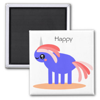 Weird But Happy Unicorn 2 Inch Square Magnet