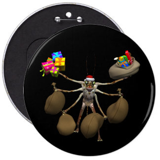 Weird Creeper Santa Claus With Full Hands 6 Inch Round Button