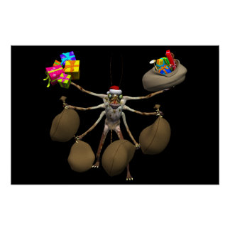 Weird Creeper Santa Claus With Full Hands Poster