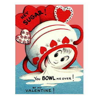 Weird Cute Funny Sugar Bowl Heart Valentine Postcard