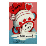 Weird Cute Funny Sugar Bowl Heart Valentine Poster